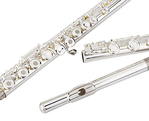 Glory Silver Plated Intermediate 17keys, Open/closed Hole C Flute with B Foot Joint ,Offset G, with Case,cleaning Rod, Cloth, Joint Grease, and Gloves